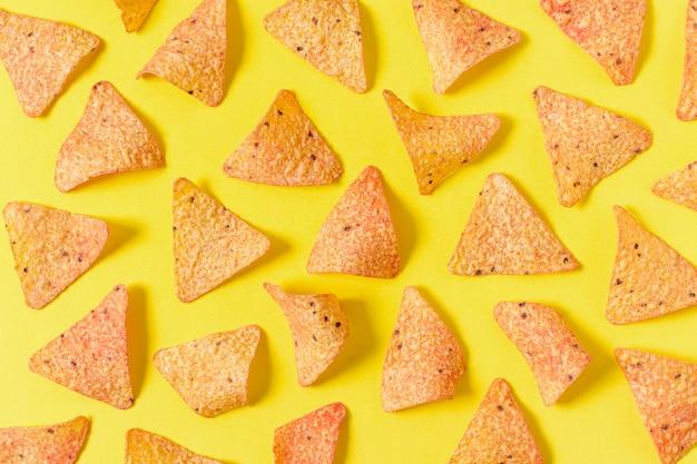 Vue de dessus des chips nacho