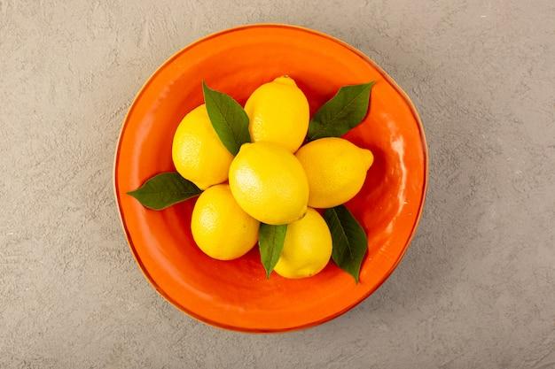 Une vue de dessus des citrons frais jaunes mûrs moelleux à l'intérieur de la plaque orange sur le fond gris fruits couleur agrumes