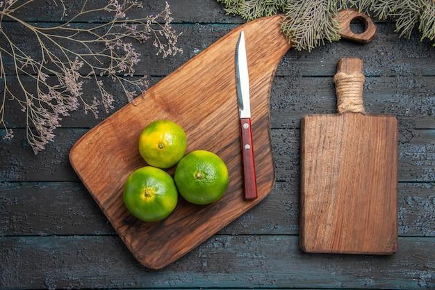 Vue de dessus des citrons verts à bord des citrons verts sur une planche à découper sur la table à côté des branches d'arbres, couteau et planche de cuisine