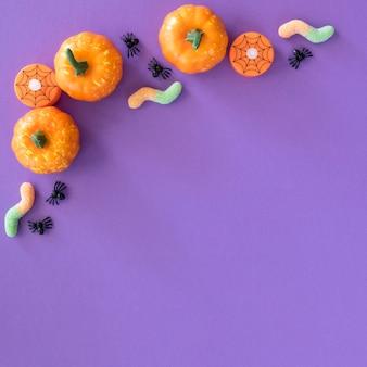 Vue de dessus citrouilles d'halloween avec espace copie