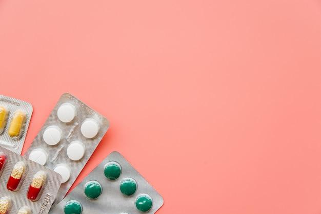 Vue de dessus des cloques de pilules