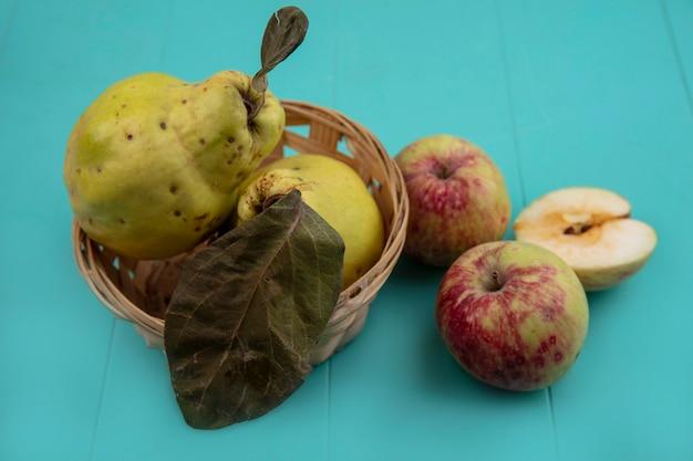 Vue de dessus des coings frais sur un seau avec des pommes entières et coupées en deux sur fond bleu