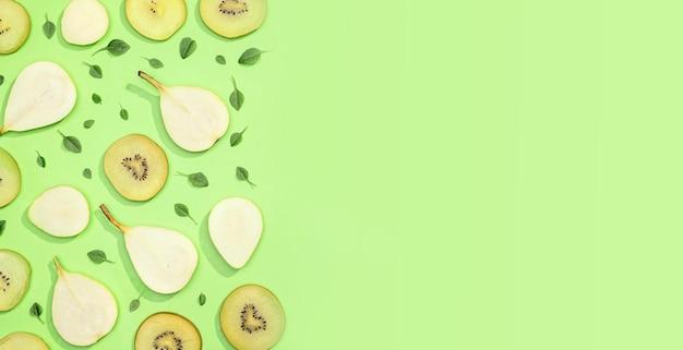Vue de dessus collection de fruits frais avec espace copie