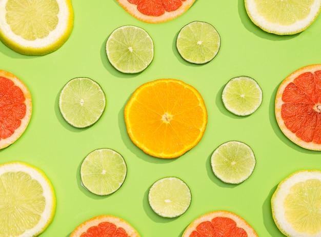 Vue de dessus collection de fruits frais