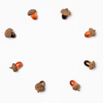 Vue de dessus collection de glands avec espace copie