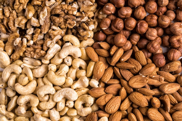 Vue de dessus de la collection de noix
