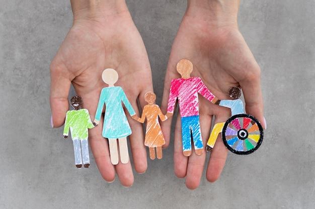 Vue de dessus de la communauté multiethnique et handicapée