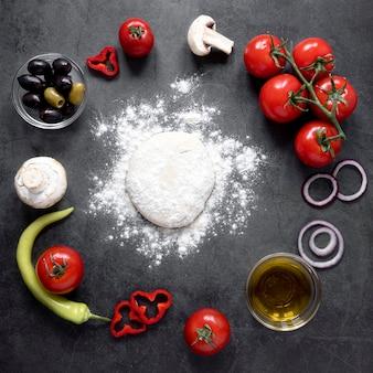 Vue de dessus de la composition des aliments savoureux