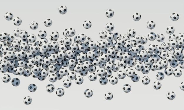 Vue de dessus de la composition avec des ballons de football