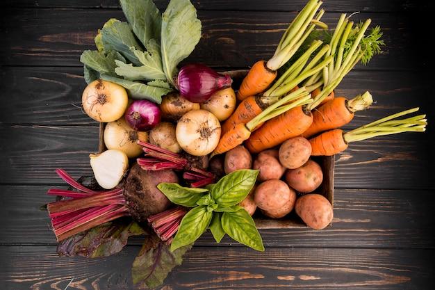 Vue de dessus composition de différents légumes