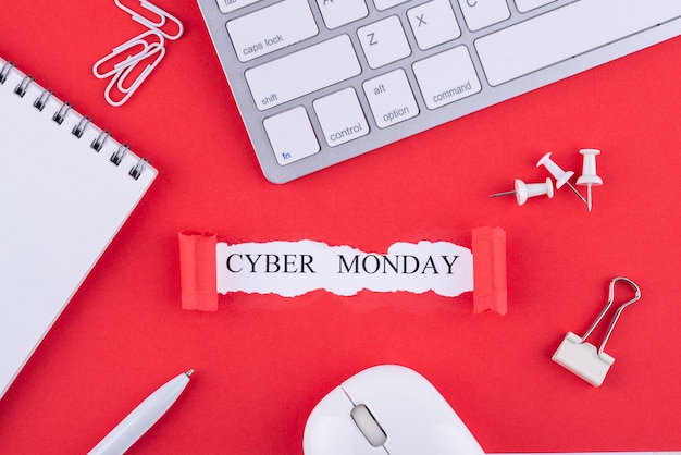 Vue de dessus composition du cyber lundi