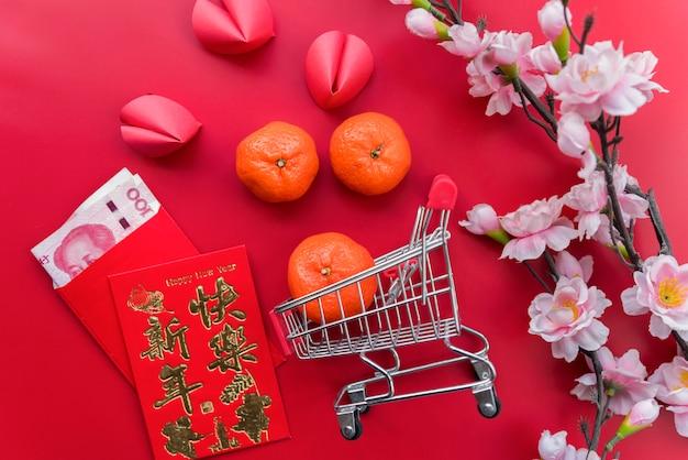 Vue de dessus composition du nouvel an chinois
