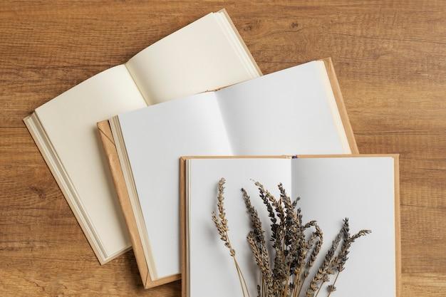 Vue de dessus composition minimale avec des livres