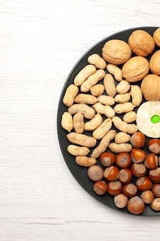 Vue de dessus composition des noix noix fraîches cacahuètes et noisettes à l'intérieur de la plaque sur un bureau blanc clair écrou snack plante arbre beaucoup de coquille