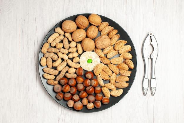 Vue de dessus composition des noix noix fraîches cacahuètes et noisettes à l'intérieur de la plaque sur un bureau blanc plante à grignoter beaucoup de coquilles