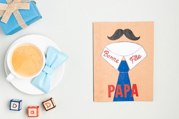 Vue de dessus concept de dessin de fête des pères