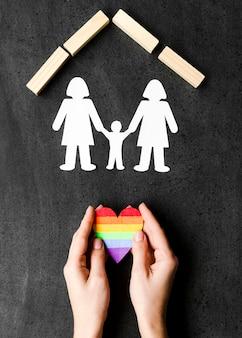 Vue de dessus concept de famille lgbt sur tableau noir