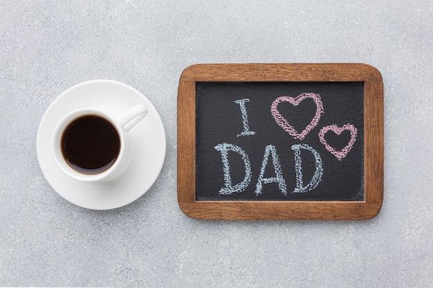 Vue de dessus concept de fête des pères avec cadre