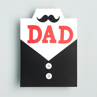 Vue de dessus concept de fête des pères avec moustache