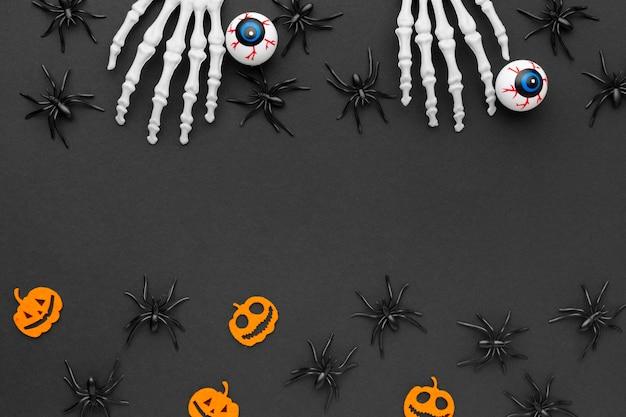 Vue de dessus concept halloween avec des araignées