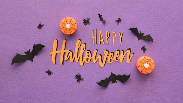 Vue de dessus concept halloween avec des citrouilles