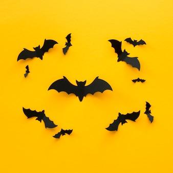 Vue de dessus concept halloween effrayant avec des chauves-souris