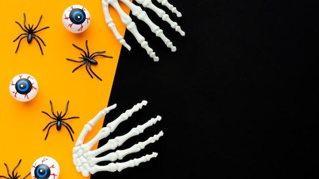 Vue de dessus concept halloween effrayant avec espace copie