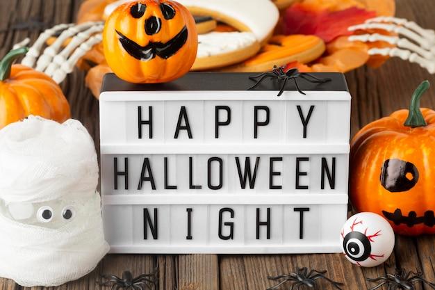 Vue de dessus concept halloween effrayant avec voeux