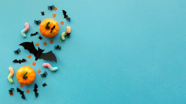 Vue de dessus concept halloween avec espace copie