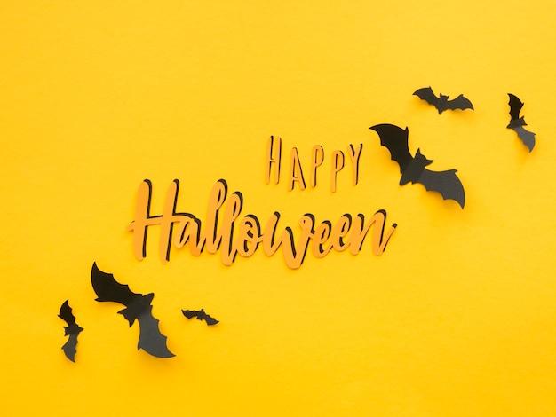 Vue de dessus concept halloween avec salutation