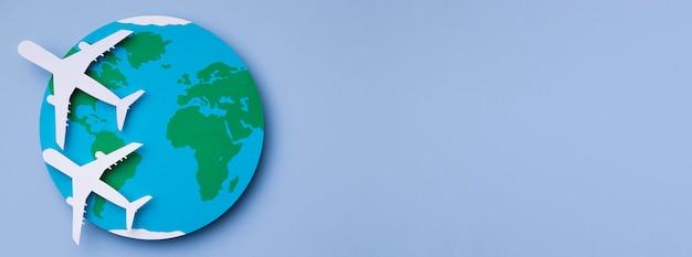 Vue de dessus concept de la journée mondiale du tourisme avec espace copie
