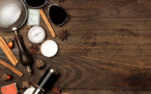Vue de dessus concept de voyage automne avec espace copie