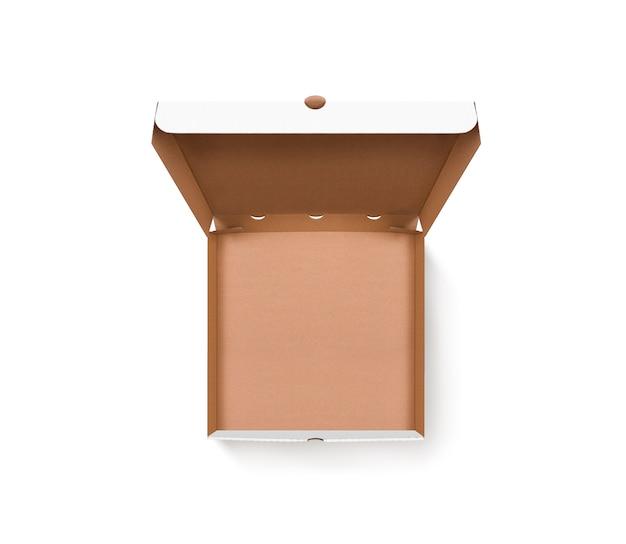 Vue de dessus de conception de boîte à pizza ouverte vierge isolée