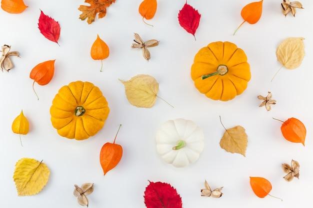 Vue de dessus créative composition automne laïque plat