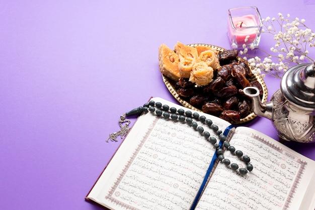 Vue de dessus la culture religieuse musulmane