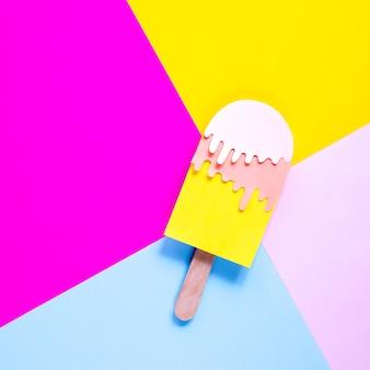 Vue de dessus décoration de crème glacée en papier