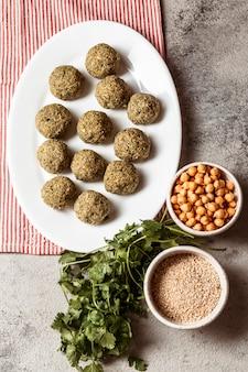 Vue de dessus délicieuse cuisine juive