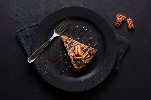 Vue de dessus délicieux dessert au chocolat