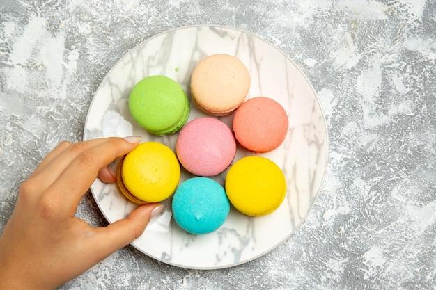 Vue de dessus de délicieux macarons français gâteaux colorés à l'intérieur de la plaque sur une surface blanche