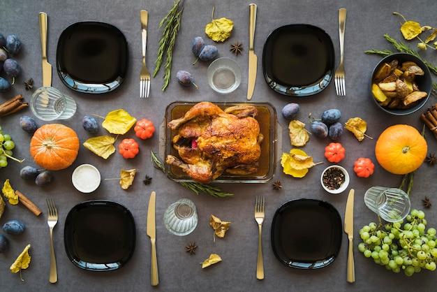 Vue de dessus délicieux repas de thanksgiving