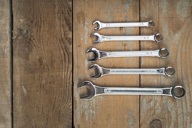 Vue de dessus différents types de clés