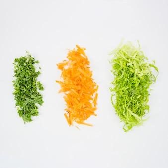 Vue de dessus de différents types de légumes