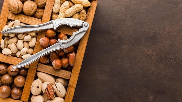Vue de dessus différents types de noix