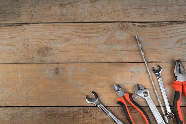 Vue de dessus différents types d'outils