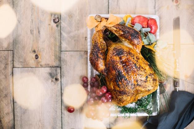 Vue de dessus de la dinde de thanksgiving