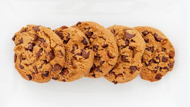 Vue de dessus de la disposition des cookies