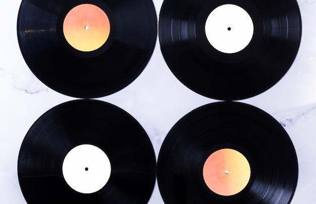 Vue de dessus de disques vinyle