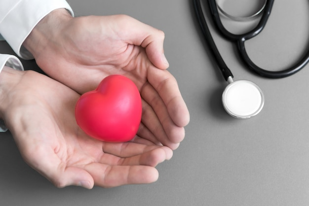 Sur la vue de dessus, le docteur donne le mini coeur au patient par deux mains avec les instruments médicaux de stethoscope