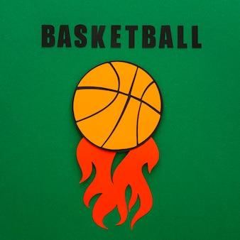 Vue de dessus du basket-ball avec des flammes