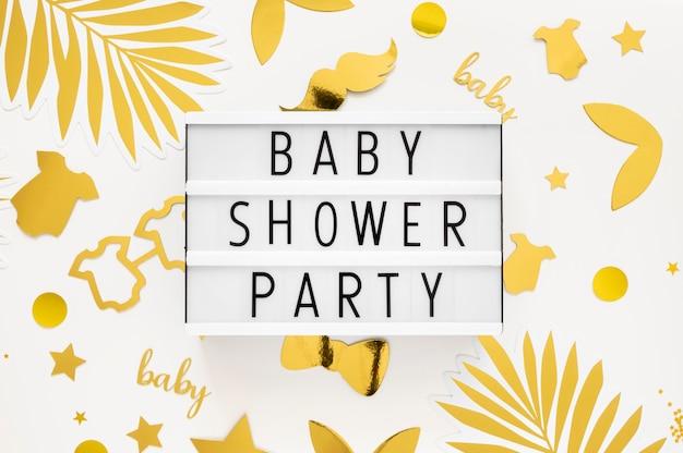 Vue de dessus du beau concept de douche de bébé